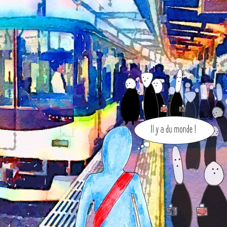 Il y a du monde dans les transports en commun le matin !