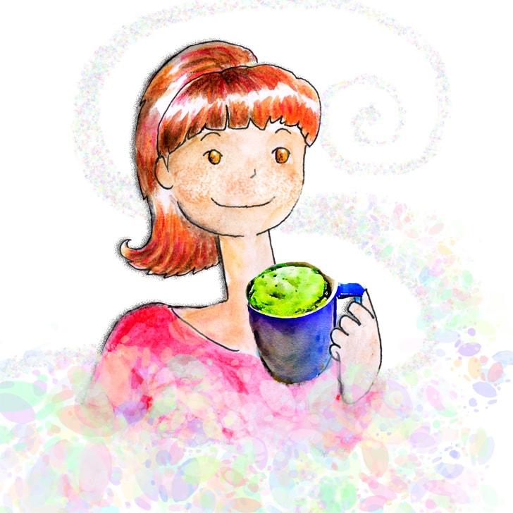 Cléa boit un matcha latte et son odeur l'apaise