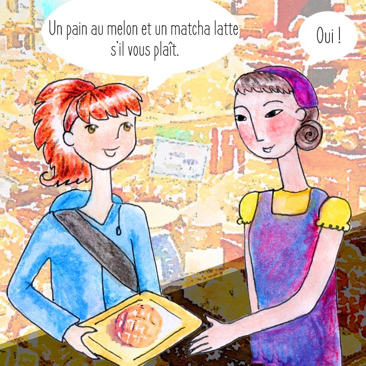 Cléa commande un pain au melon et un thé