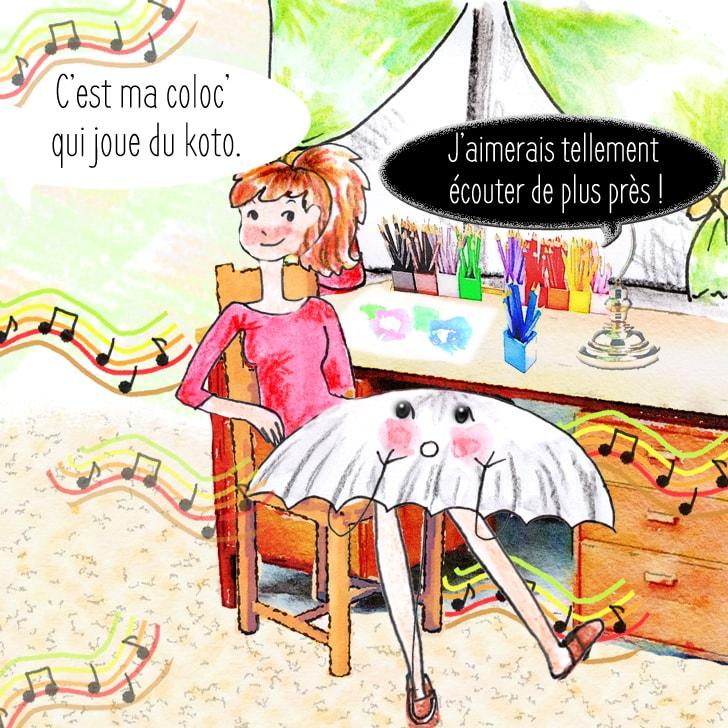 Cléa explique qu'il s'agit de sa coloc' qui joue du koto