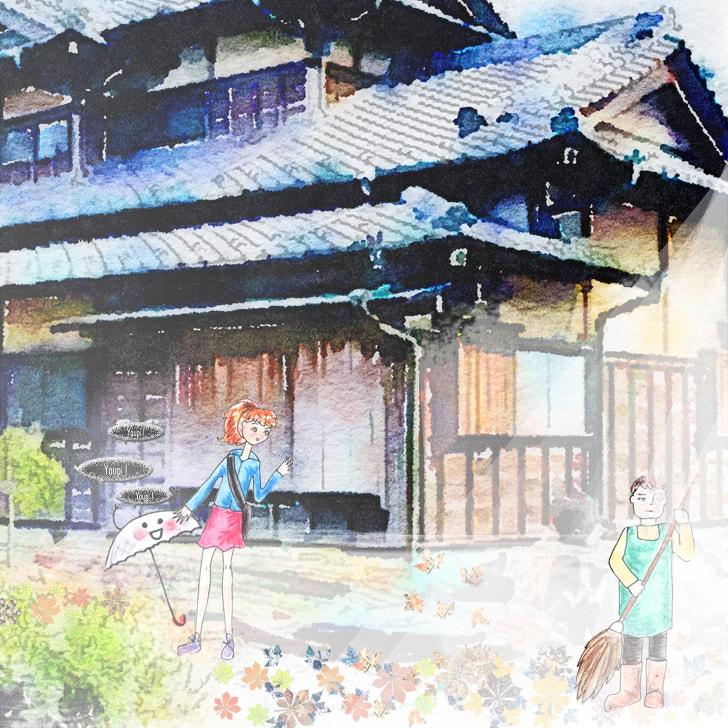 Cléa et le kasa obake entrent dans le jardin de Yamanaka san