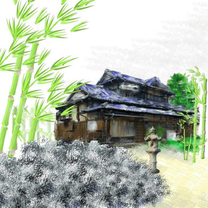 Maison traditionnelle japonaise avec du bambou