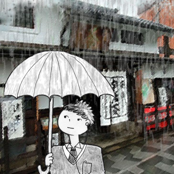 Homme japonais tenant un parapluie