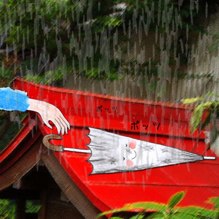 Un parapluie transparent abimé abandonné dans la rue