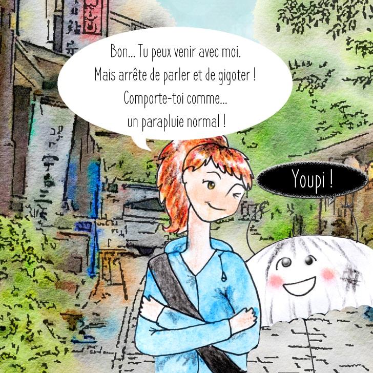 Cléa propose au yôkai de venir avec elle