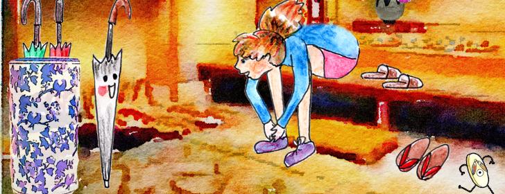 Cléa retire ses chaussures avant d'entrer dans la maison