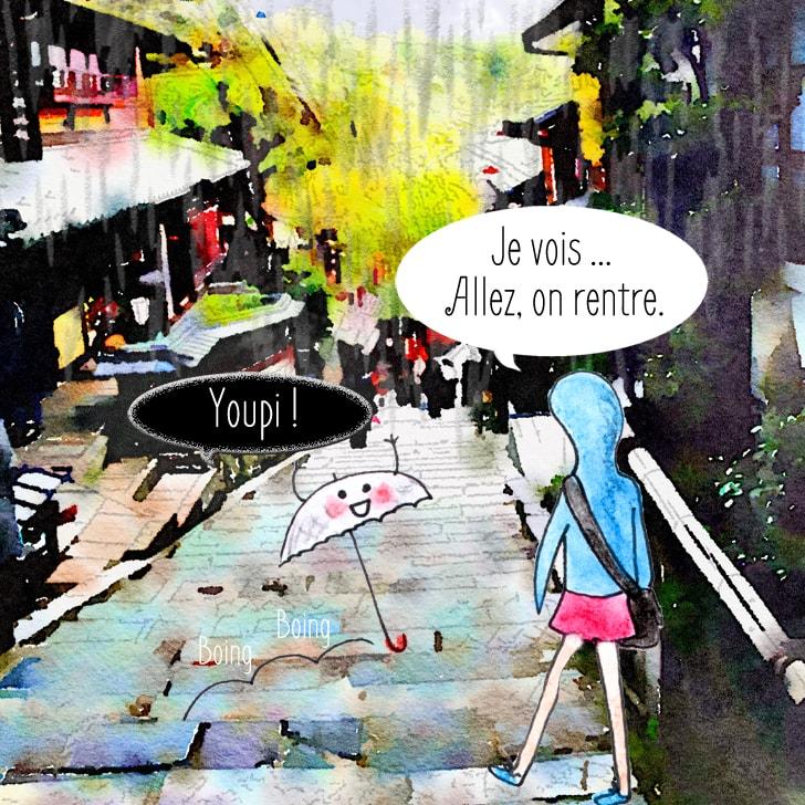 Il se met à pleuvoir dans les rues d'Uji