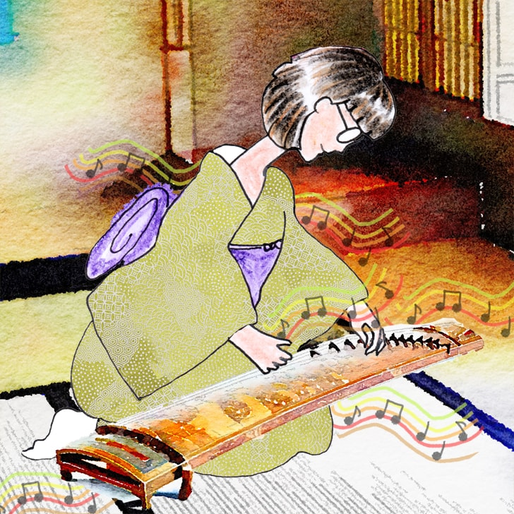 Kaname joue du koto avec élégance dans son beau kimono vert