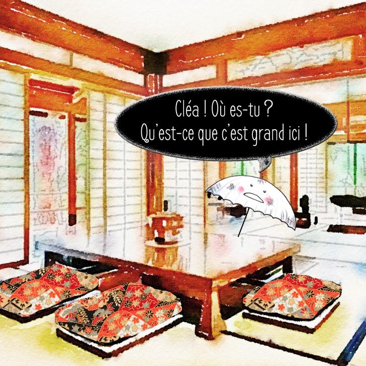 Le kasa obake cherche et appelle Cléa dans la salle à manger