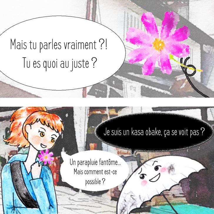 Kasa obake yôkai donne une fleur à Cléa