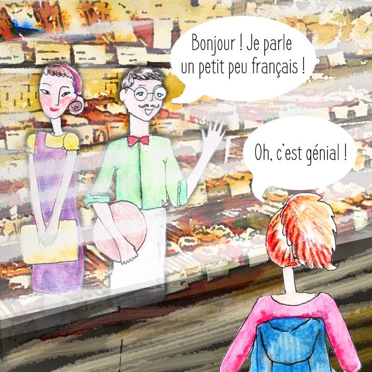 Le boulanger parle en français à Cléa qui est étonnée