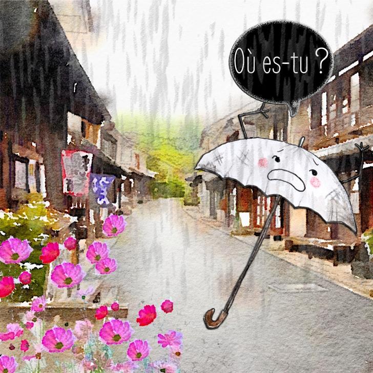 Le parapluie arpente les rues en cherchant Cléa