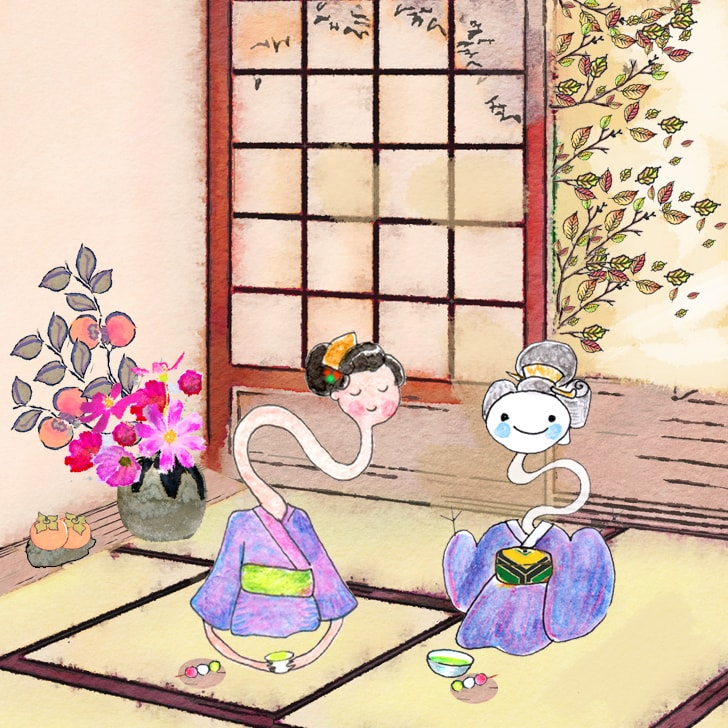 Rokurokubi ; les femmes au long cou dans une maison traditionnelle japonais