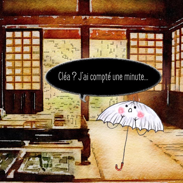 Le yôkai cherche Cléa dans toutes les pièces de la maison