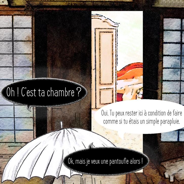 Le yôkai entre dans la chambre de Cléa qui est très lumineuse