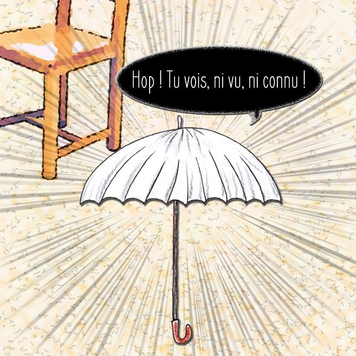 Le yôkai essaye de faire semblant d'être un simple parapluie